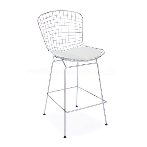 *Set of 4* High Quality Bertoia Style Wire Bar Stool - White Seat Pad (Bar Furniture Ebay)