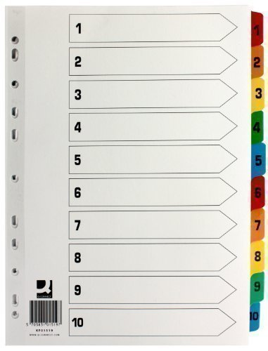 Q-Connect Index Reinforced Multi-Colour 1-10 Numbered Tabs KF01519