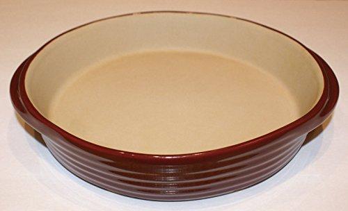 Pampered Chef Stoneware Cranberry 11 inch Round Casserole Baking Dish