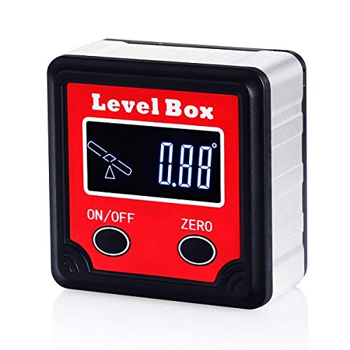 Neoteck Digital Level Box Angle Gauge, Backlit LCD Angle Finder with Magnetic Base, Seesaw Indicator, Carrying Pouch, Mini Screwdriver, Lanyard Strip
