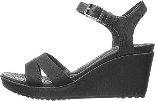 crocs Women's Leigh II Ankle Strap Wedge, Black/Black, 8 M US