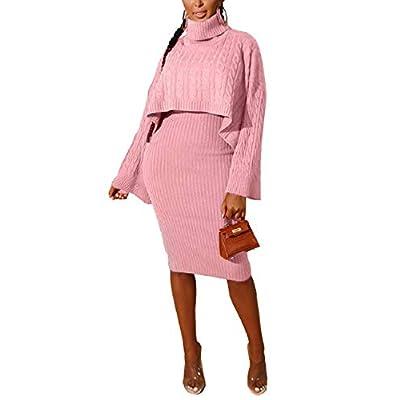 ThusFar Women's 2 Piece Sweater Dress Sets Loose Turtleneck Sweaters Shawl Poncho Cape and Bodycon Tank Midi Dresses: Clothing