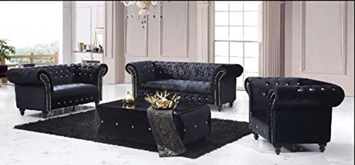 Speedy Sofas Victoria 3 2 Chesterfield Boutique Crush Black Velvet Sofa Amazon Co Uk Kitchen Home
