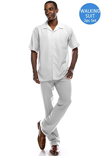 Big Size Men's Solid 2-Piece Short Sleeve Walking Suit Set WHITE Suit, - Sleeve Short Suit Mens