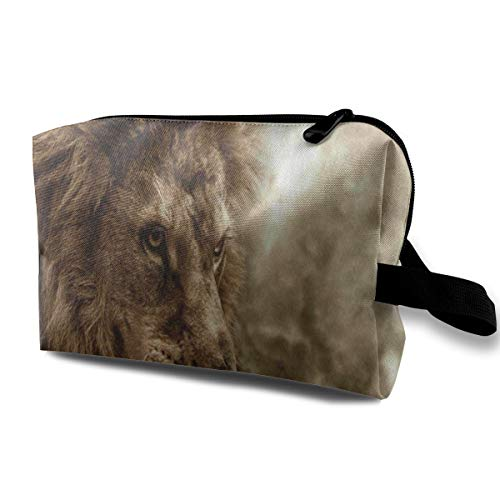 Makeup Bag Fierce Lion Against Stormy Sky Handy Travel Multifunction Cosmetic Bags Cool Case For Girls