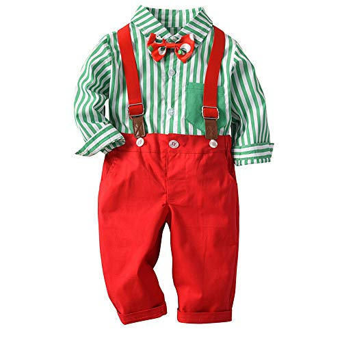 Toddler Baby Little Kids Boys Gentleman Stripe Top T-Shirt Plaid Trousers Pants Set Outfit (2-3 Years, ()