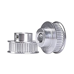 KINGPRINT GT2 Timing Pulley Aluminum Bore 40 teeth 8mm for Width 6mm for 3D Printer Parts(Pack of 2pcs) by KINGPRINT
