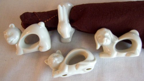 White Porcelain Animals Napkin Rings Set of 4 by Vintage Made In Japan