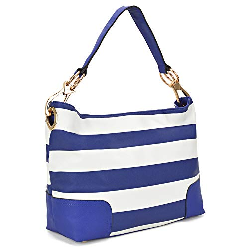 Classic Women Hobo Shoulder Bag Ladies Tote Purses Handbag with Big Snap Hook (Large-Blue and White)