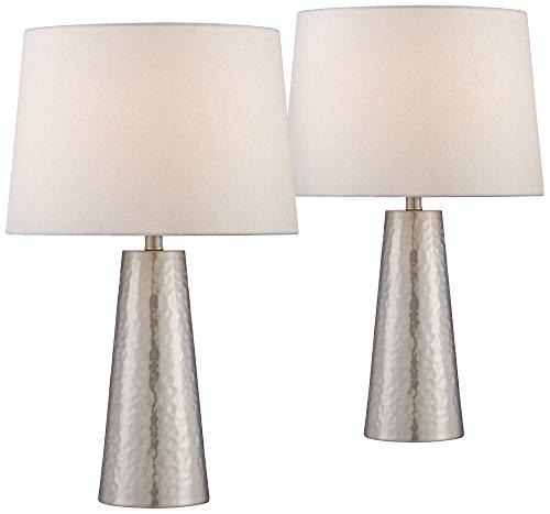 Leaves Lamp (Silver Leaf Hammered Metal Cylinder Table Lamp Set of 2)