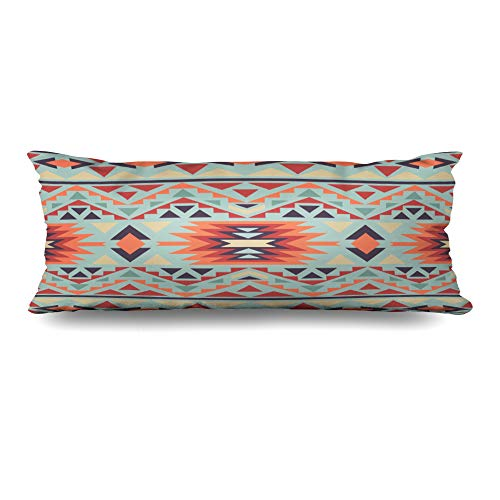 Ahawoso Body Pillows Cover 20x54 Inches Artwork Yellow American Navajo Pattern Abstract Indian Geometric Tribal Aztec Chevron Cultural Design Decorative Zippered Pillow Case Home Decor Pillowcase