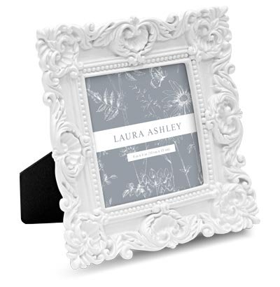 Isaac Jacobs International Laura Ashley Chunky Resin Picture Frame (4x4, (White Resin Frames)