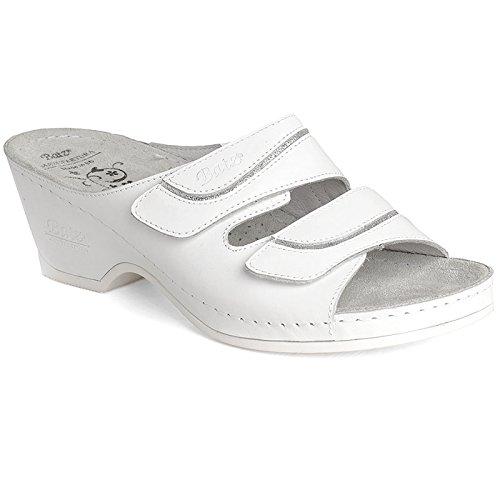En Batz Femme Eszter Mules Qualité Cuir Sandales argent De Blanc Supérieure Urt4rnO