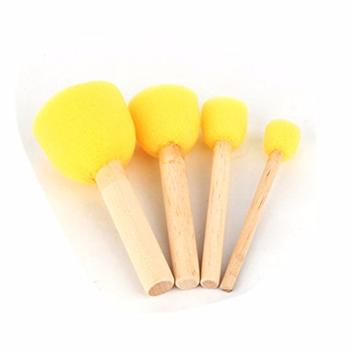 Paint Handle Sponges (QHYT Sponge Brush Furniture Art Crafts Cleaning Tool Paint Foam Handle Round Wooden Yellow Set of 4)