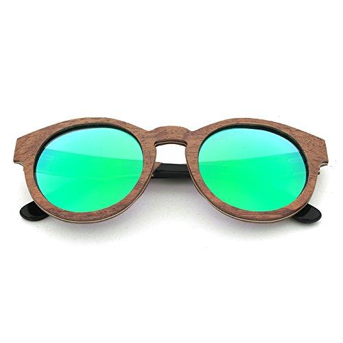 KOMEISHO La Couleur Bois De UV400 Protection Forme Vert Rétro Bleu Soleil Lentille Lunettes En Main À Colorée De Bordé Femmes Style Ronde Pour Hommes 1wwrqX8