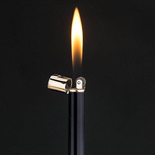 Navpeak Long Strip Refillable Butane Gas Cigarette Lighter Wheel Fire Starter for Men&Women (Black+Gold)