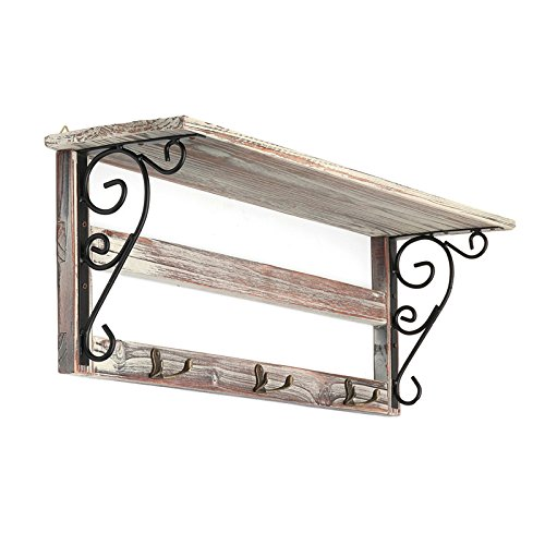 Wall Hanging Shelf Shabby Chic Decorative Wooden Hooks Book Vase Bonsai Holder Stand Wood Craft Home Decor Display Cabinet Unit