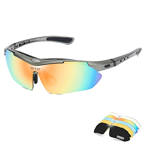 Duco Rimless Sports Sunglasses for Golf Cycling TR90 Superlight Temple with Adjustable Nose Pad 0029 (Shine Grey)