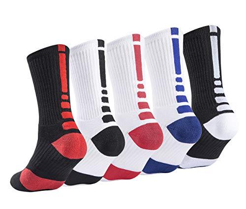 (5 Pack Mens Basketball Socks Cushion Athletic Long Sport Outdoor Socks Dri-fit Compression Sock 6.5-11.5)