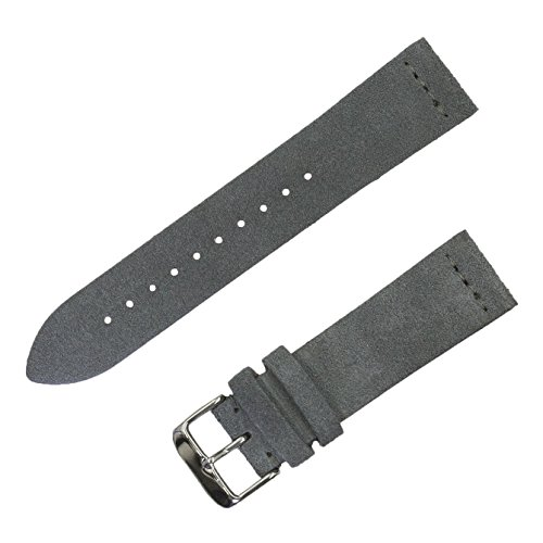 Benchmark Straps 22mm Suede Watchband in Slate - Gray Band Watch