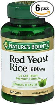 Nature's Bounty Red Yeast Rice 600 mg Herbal Supplement Capsules - 120 ct, Pack of 6