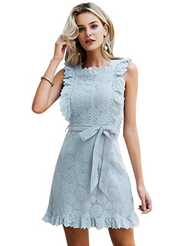 Simplee Women's Lace Ruffle Sleevesless Elegant Mini A-line Dress with Belt (Blue 4/6)