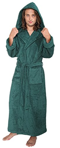 ll Ankle Length Hooded Turkish Cotton Bathrobe M Hunter Green ()