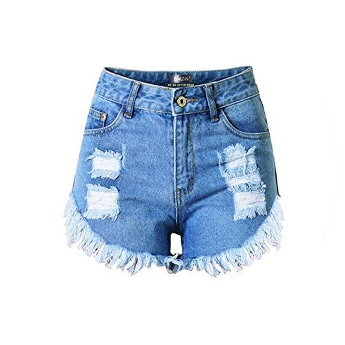 Ripped High Waist Blue Women Denim Shorts Summer European Style Tassel Sexy Short Jeans - Denim Jacket Femme La