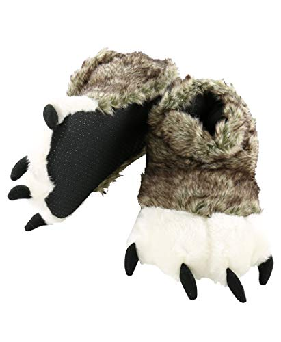 Wolf Paw Animal Paw Slippers for Kids and Adults by LazyOne | Fun Fuzzy Costume Footwear -