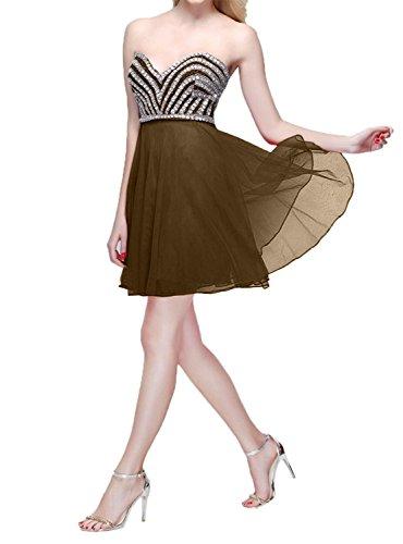 Charmant linie A mit Damen Perlen Kleider Tanzenkleider Braun Cocktailkleider Kurzes Jugendweihe Mini Partykleider Chiffon 44wxHq16r