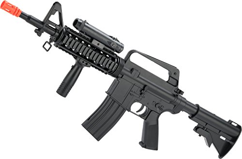 Evike - WELL Airsoft Full Size M4 RIS Spring Rifle with Weapon - Marui Ris M4
