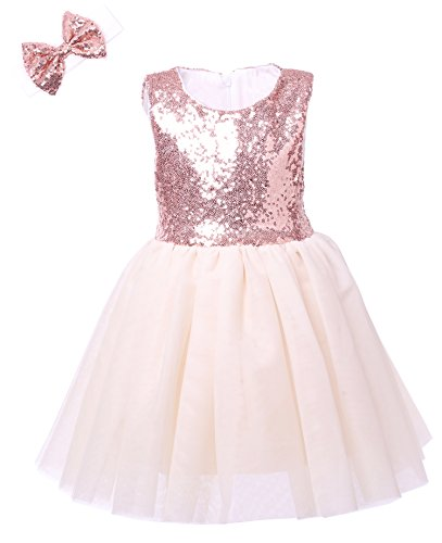 Cilucu Flower Girl Dress Kids Party Dress Tutu Toddler Pageant Bridesmaid Sequin Dresses Birthday Gown Rose Gold/Off White (Rose Flower Girl Dress)