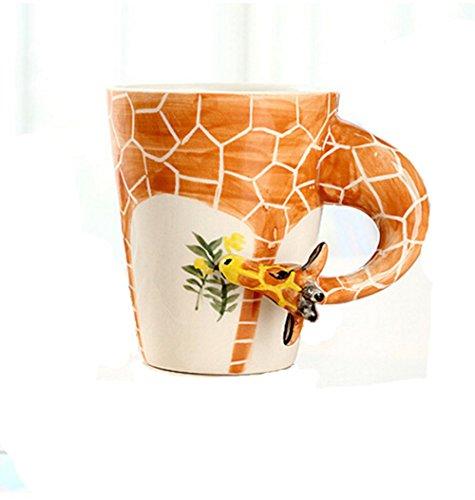 Hand-painted Ceramic Animal Coffee Mug - Lively Grazing Giraffe by Cup Talk