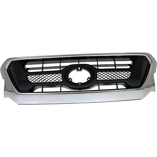 Elite7 Grille Assembly Replacement for 12-15 Toyota Tacoma Chrome Shell Gray Insert TO1200351