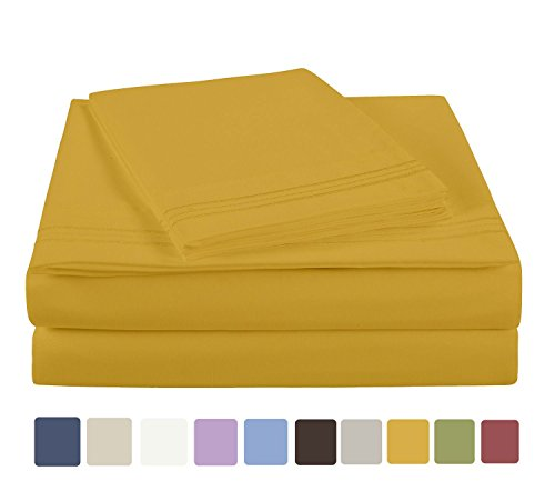 NC Home Fashions Embroidered ultra soft microfiber sheet set, California King, Spicy Mustard