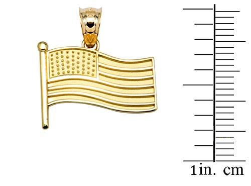 10 ct 471/1000 Drapeau des Etats Unis Or Jaune Pendentif