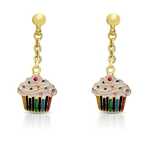 Price comparison product image Jewelry for Girls - Cupcake Dangle Earrings - Gold Plated with Hand Painted Enamel - By Lily Nily