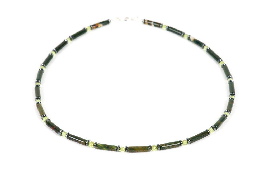 Bloodstone Necklace for Men Hematite Choker Handmade Gemstone Jewelry Natural Gemston Peridot