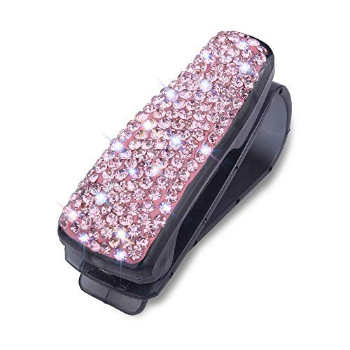 WINKA Rhinestone Sun Visor Sunglasses Holder with Ticket Card Clip Easy Mount for Car Accessories Pink