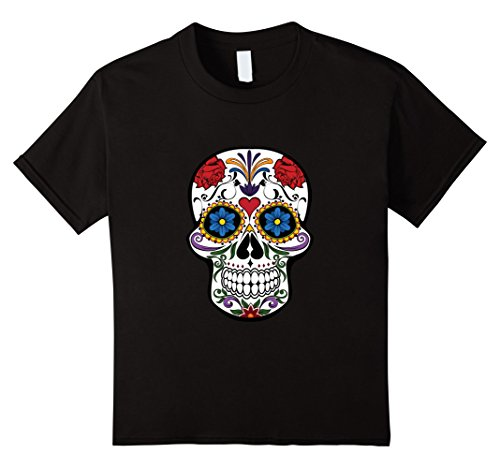 Kids Sugar Skull Costume Halloween Day of The Dead Calavera Shirt 10 (Sugar Skull Costume Amazon)