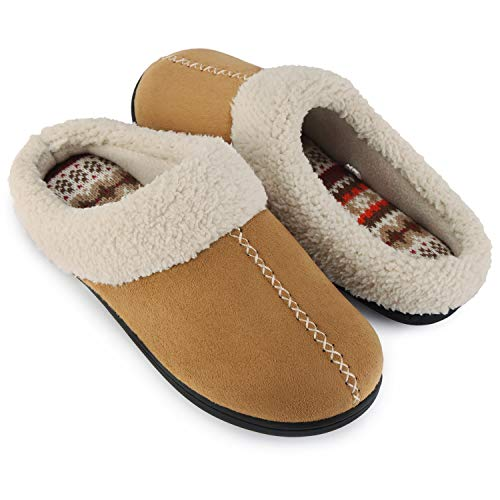 - ULTRAIDEAS Women's Comfort Memory Foam Slippers with Warm Fleece Lining and Wool-Like Collar, Casual Micro Suede Slip on House Shoes with Indoor Outdoor Anti-Skid Rubber Sole, Tan, Size 11-12(X-Large)