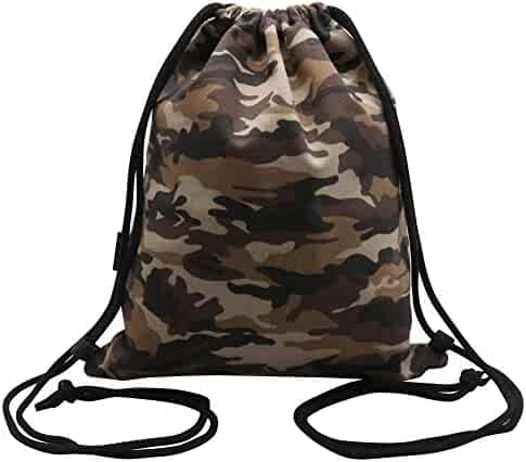 7f7096f4e Peicees Canvas Drawstring Backpack Gym Sports Bag with Zip Pocket for Men  Women