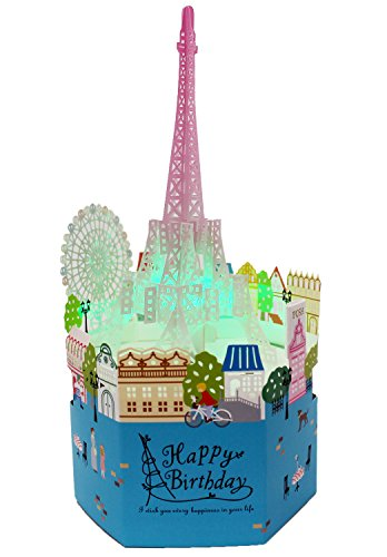 Laser Cut Happy Birthday Eiffel Tower Lights and Melody Pop Up ()