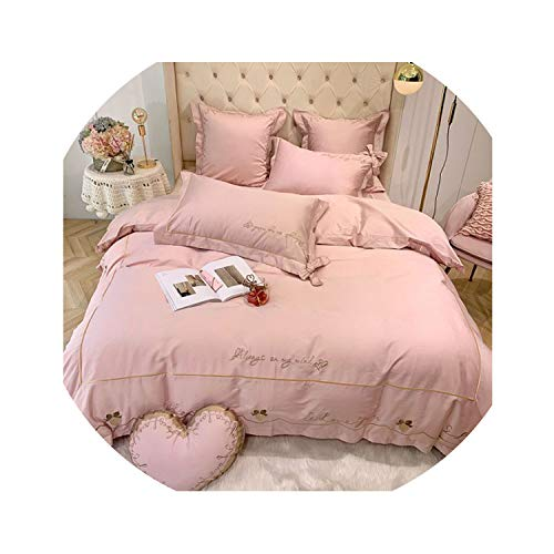 HANBINGPO Solid Pink Red Girls Bedding Love You Embroidery Duvet Cover 4/7Pieces Bedding Set King Queen Size Bed Sheet Set Pillow Shams,Bedding Set 1,King Size 4pcs,Bed Sheet Style
