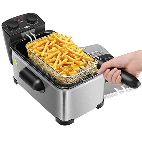 VIVOHOME 1700W 3.2 Quart Deep Fryer with Basket and Timer for Home Use