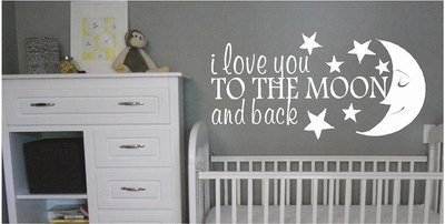 """Sweetums Signatures I Love You To The Moon & Back Vinyl Wall Decals 24"""" Wide X 12"""" Tall - 24 X 12 - Black"""