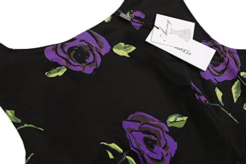 Spring Women's Purple Floral ACEVOG Dress Garden Rose Sleeveless Picnic Vintage 1950's Party BHFFXn