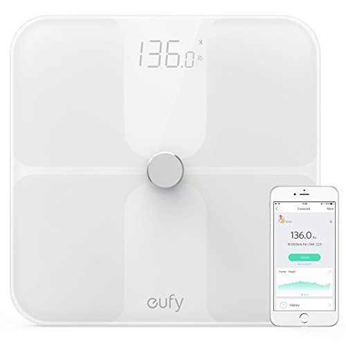 Eufy Bodysense Smart Scale With Bluetooth  Large Led Display  Weight Body Fat Bmi Fitness Body Composition Analysis  Auto On Off  Auto Zeroing  Tempered Glass Surface  Black White  Lbs Kg St Units