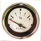 NEW MARPAC MARINE BOAT FUEL GAUGE WHITE STAINLESS BEZEL 7-1986