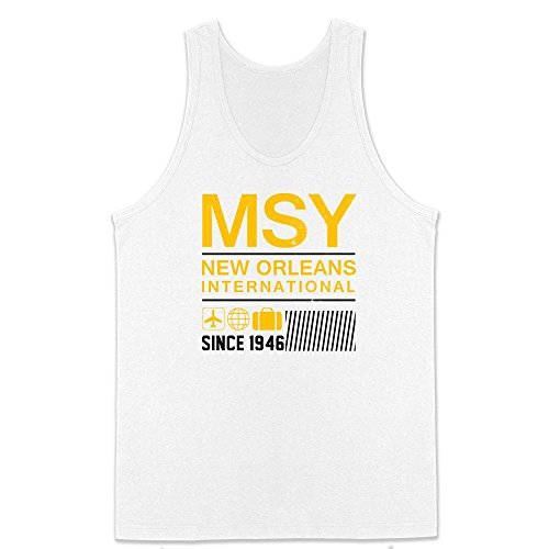 Pop Threads MSY New Orleans Airport Code Since 1946 Travel White L Mens Tank - Orleans Shops Airport New